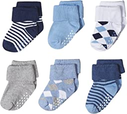 Jefferies Socks - Non-Skid Argyle/Stripe Turn Cuff 6-Pack (Infant/Toddler)