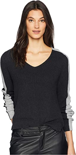 Cotton Knits V-Neck Color Block Pullover