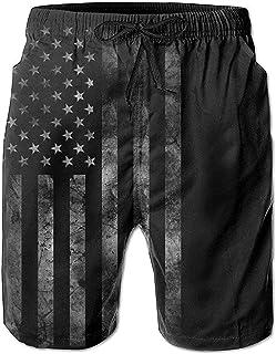 Hombres América Bandera de EE. UU. Retro Verano Vacaciones Bañadores Pantalones Cortos de Playa Pantalones Cortos