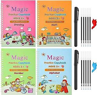 Magic Reusable Copybook for Kids, Disappearing Ink Handwriting Practice Book, Preschool Cursive Calligraphy Book (4 Books ...
