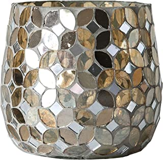 Creative Co-op Gold Mosaic Glass Votive Candle Holder