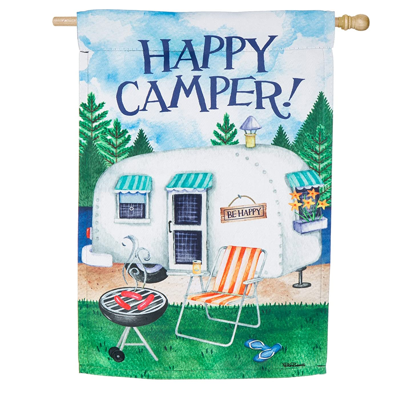 Evergreen Happy Camper Outdoor Safe Double-Sided Suede House Flag, 29 x 43 inches