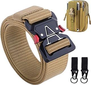 IDEATECH Tactical Belt for Men, Black Tactical Belt Heavy Duty Men's Military Belts with Tactical Belt Pouch & Tactical Hook