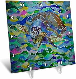 3dRose dc_46776_1 Loggerhead Turtle World Turtle Day, Loggerhead Sea Turtle, Caretta Caretta, Loggerhead, Turtle Desk Clock, 6 by 6-Inch