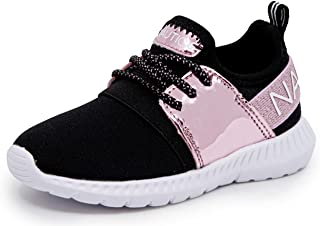 Kids Girls Metallic Fashion Sneaker Lace-Up Athletic...