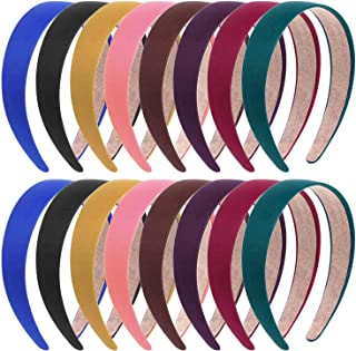 Anezus 16 Pcs Satin Headbands 1 Inch Anti-slip Colorful Ribbon Hair Bands for Women Girls DIY Craft Hair Accessories