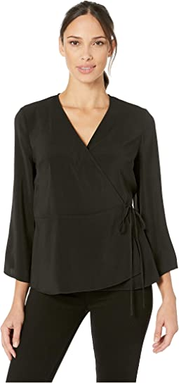 3/4 Sleeve Peplum Wrap Blouse