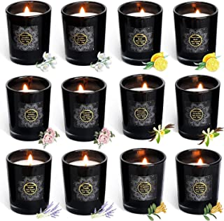 XYUT Votive Scented Candles Gift Set - 12 Mini Natural Soy Wax Black Glass Candle,Lemon/Lavender/Rose/Jasmine/Vanilla/Bergamot