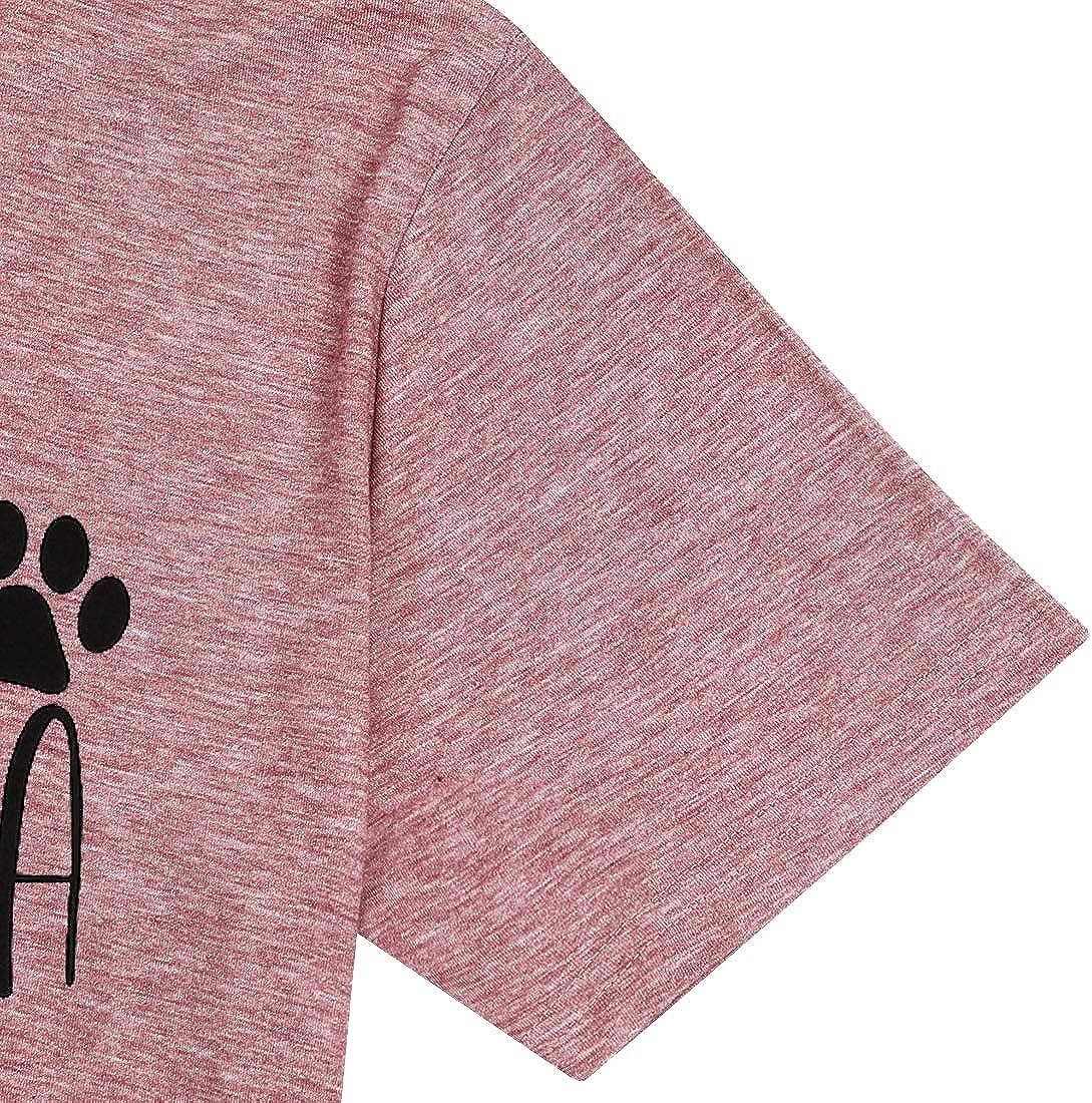 Dog Grandma Short Sleeve T-Shirt Women Dog Paw Print Shirts Letter Print Casual Tops Tees