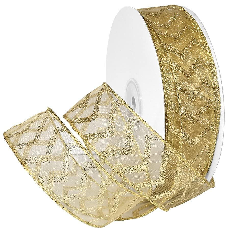 Morex Ribbon Wired Nylon Chevron Glitz Ribbon, 1-1/2