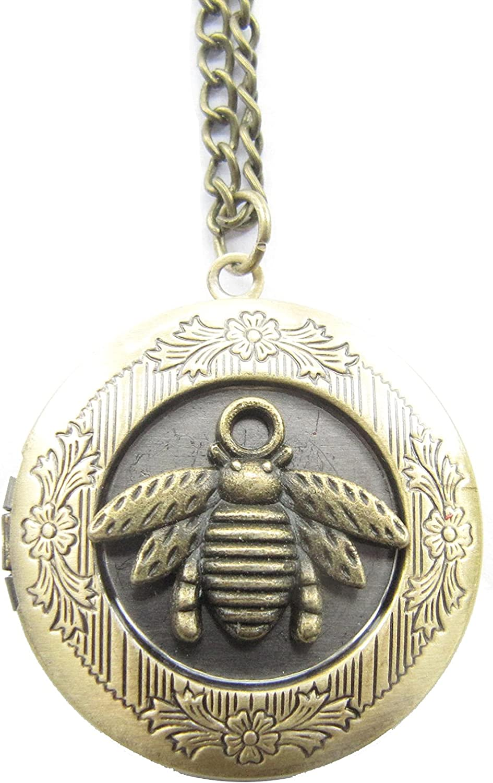 Bee Necklace,Honey Necklace,Honey Bee Locket,Honey,Bumble Bee Necklace,Ancient Bronze Locket Necklace