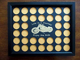 Poker Chip Dislplay Frame Insert, motorcycle engraved chip holder, fits 36 Harley-Davidson or Casino chips, custom-made chip holder Frame Option Harley-Davidson riders
