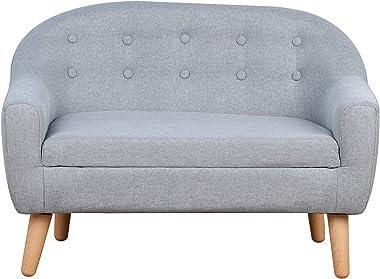 Qaba Kids Sofa Linen Fabric Wooden 2 Seat Armrest Children Chair Cozy Grey