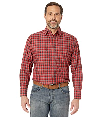 Wrangler Silver Edition Long Sleeve Plaid Snap (Red/Black) Men