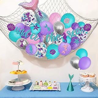 Under The Sea Mermaid Party Balloons Banner Net Backdrop Kit Girls Birthday Backyard Fence Decoration Mermaid Tail Ocean T...