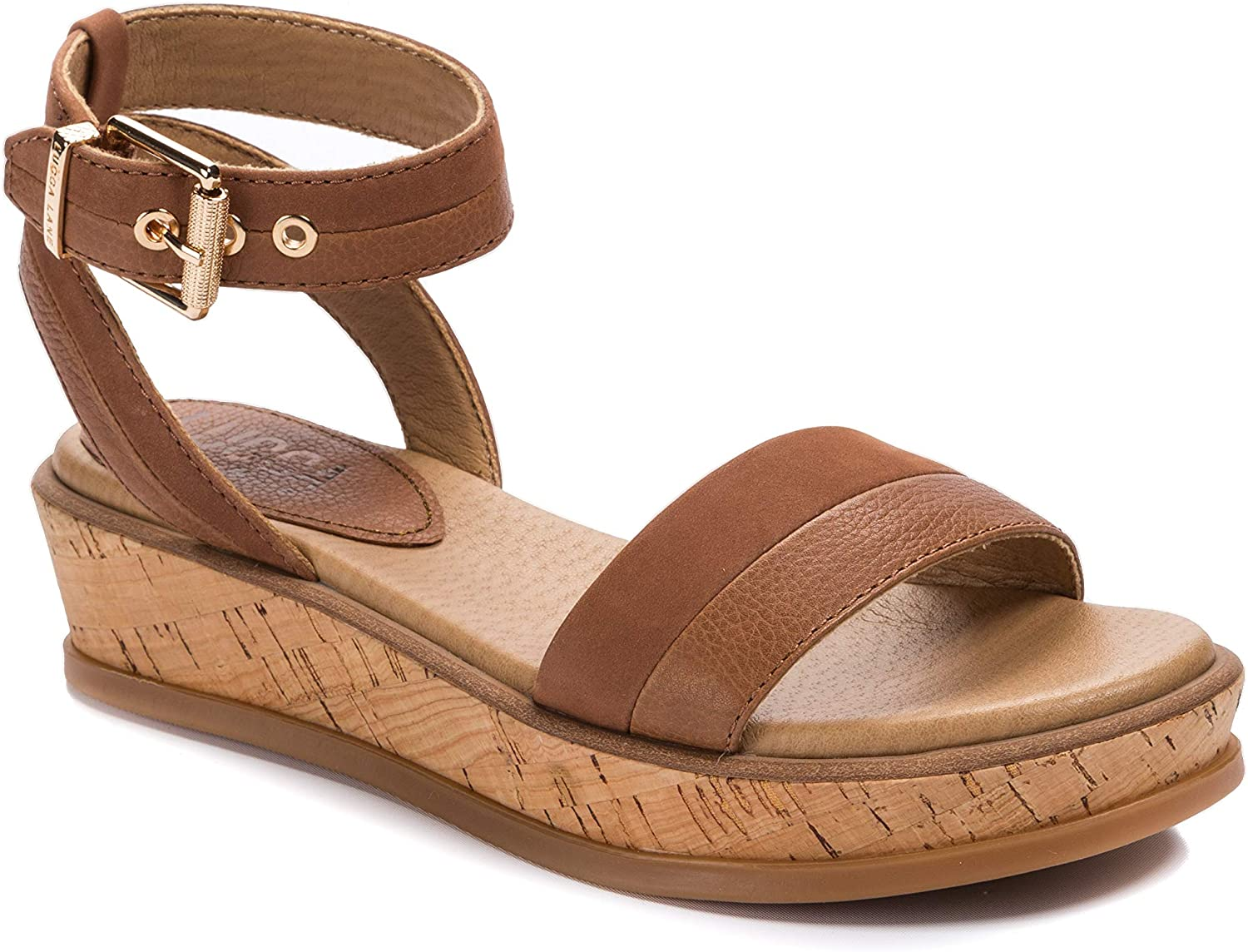 Lucca Lane Womens Karel Leather Super intense SALE Open Sand San Diego Mall Toe Ankle Casual Strap