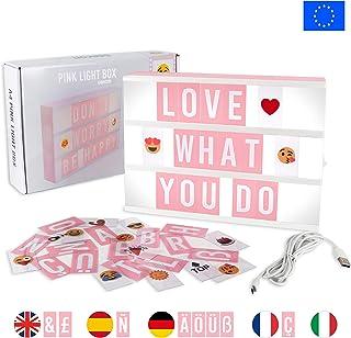 Light Box Rose Avec 105 Lettres, 50 Emojis Et USB   BONNYCO | Ç Inclus |  Boite Lumineuse Message Idéal Décoration Maison, Chambre, Bureau | Tableau  Lumineux ...