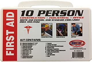 Rapid Care First Aid RC-10MAN-W 10 Person 106 Piece ANSI/OSHA Compliant Emergency First Aid Kit in Wall Mountable Poly Case