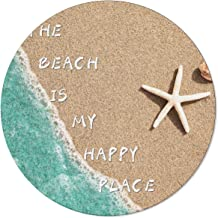 OneHoney Round Area Rugs 5ft, Summer Coastal Beach Sand Starfish Indoor Throw Runner Circle Rug Entryway Doormat Floor Car...