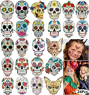 Day of the Dead Sugar Skull Tattoos Halloween Temporary Face Tattoos for Women Men Adults Kids Boys Girls Mexican Halloween Party Favor Supplies Black Skeleton Web Red Roses Tattoo Stickers 24 Sheets