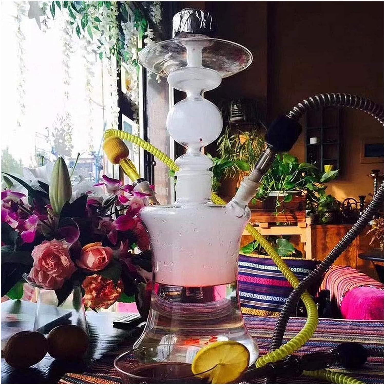 Shisha Hookah 53cm 2 Manguera de la nariz de cristal de lujo Conjunto con accesorios de cachimba, luces led, tazón de enjuague, pinzas de carbón