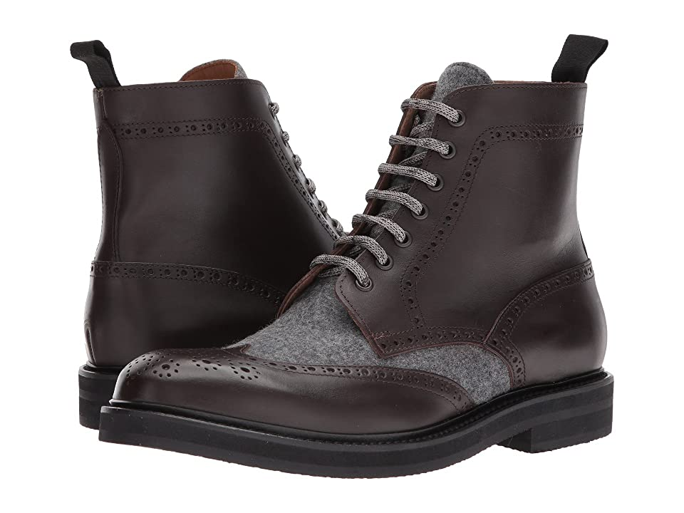 eleventy Leather/Flannel Wingtip Boot (Brown/Grey) Men