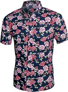Men's Summer Floral Print Short Sleeve Button Down Beach Hawaiian Casual Shirt