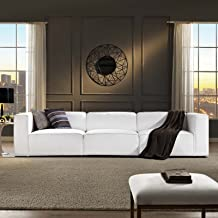 Modway Mingle Contemporary Modern 3-Piece Sectional Sofa Set in White