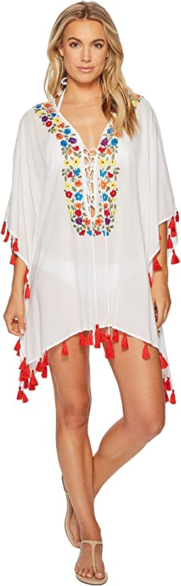 Bindya - Floral Embroidery Lace-Up Tunic