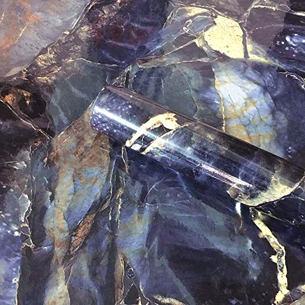 Blue Stone Adhesive Marble Paper Granite Look Marble Effect Gloss Vinyl Peel And Stick Countertops Covering Sticker Sheet Roll 15 8inch By 79inch