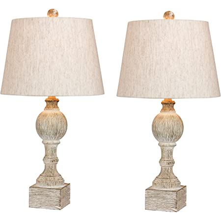 Safavieh Tbl4183a Set2 Lighting Jareth White Wash 29 Inch Set Of 2 Led Bulbs Included Table Lamp