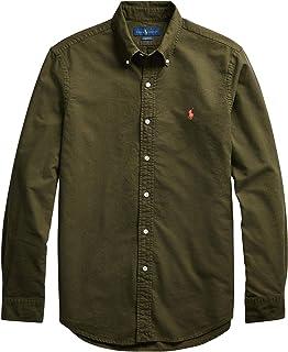 POLO RALPH LAUREN Men's Big and Tall Long Sleeves Classic Fit Oxford Buttondown Shirt (4XLT, OliveGreen)