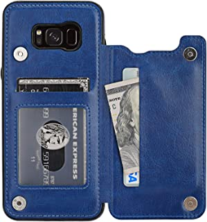 Vaburs Galaxy S8 Plus Case Wallet with Card Holder, Premium PU Leather Double Magnetic Buttons Flip Shockproof Protective Case Cover for Samsung Galaxy S8 Plus(Blue)