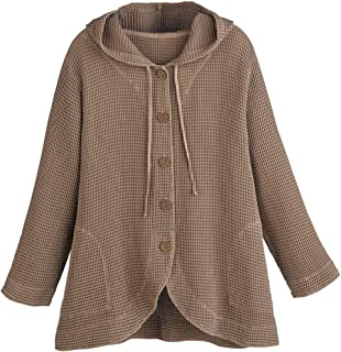 Women's Hooded Tunic Jacket - Button-Front Waffle Weave...