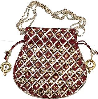 Ruchit Handicraft Women's Rajasthani Style Silk Potli Gota Patti Handbag, Potlis Drawstring Hand-Carry Valentine Gift (Mar...