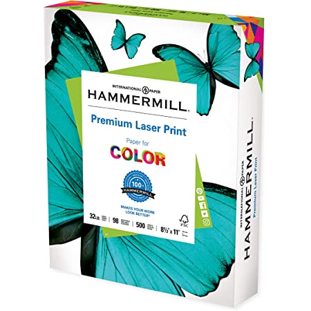 Hammermill Printer Paper, Premium Laser Print 32 lb, 8.5 x 11-1 Ream (500 Sheets) - 98 Bright, Made in the USA, 104646