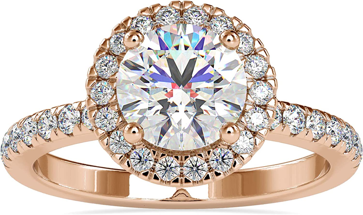 Diamondrensu Moissanite Halo Engagement Ring Bri 1.97 Round 4 years warranty CTW Spring new work one after another