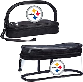 Officially Licensed NFL Pittsburgh Steelers 2-Piece Travel Set, Clear, 10.75 x 4.5 x 5.5 inches