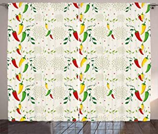 Lunarable Vegetables Curtains, Gourmand Peppers on Swirl Branches Mexican Food Hot Sauce Image, Living Room Bedroom Window Drapes 2 Panel Set, 108