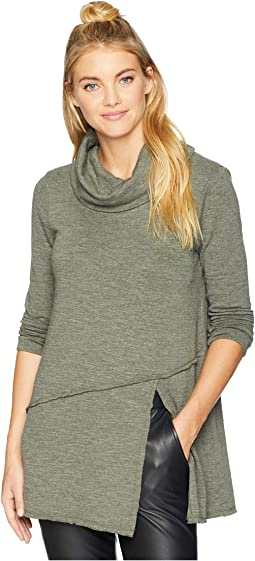 Slubby Sweater Knit Cowl Neck Asymmetrical Front Slit Tunic