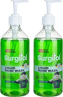 Surgitol Nature Fresh Green Liquid Hand Wash For Safe, Effective, With Moisturizing Everyday Use - Pack Of 2 (500 ML Each)