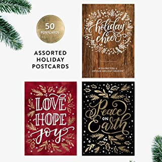 50 Holiday Postcards, Holiday Cheer, Hand-Lettered Christmas Postcard Set, Hand-lettered Holiday Postcards, Happy New Year Postcards, Season's Greetings Postcards