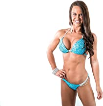 Vicky Ross Fit Crystal Competition Bikini Suit by Designer NPC IFBB Bodybuilding Posing Suit   Blue