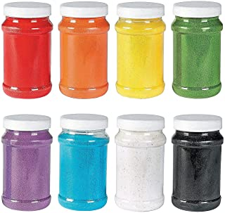 Colorful Craft Sand Bulk Set - 8 Colors, 22 oz Each - Red, Orange, Yellow, Green, Purple, Blue, White and Black
