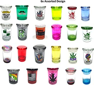 6x Assorted 3oz Storage Jar Pop Top Container Glass 1/8 Medical Jar