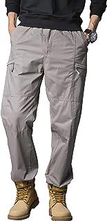 Gmardar Pantaloni Uomo Elegante con Tasche Laterali Zip Elastica Vita Cotone Dritti Larghi Fit Casual Regular Taglie Forti...