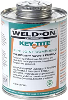 Weld-On 10064 Green Tite 505 Key Metal Pipe Threas Sealant with Brush in Cap Applicator, 1 pint Can