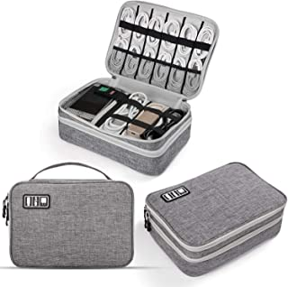 Electronics Organizer, Jelly Comb Electronics Cable Organizer Bag Double Layer Travel Cable Storage Bag for Cables, Laptop Charger, Tablet (Up to 11'') and More-Thick Large(Grey)