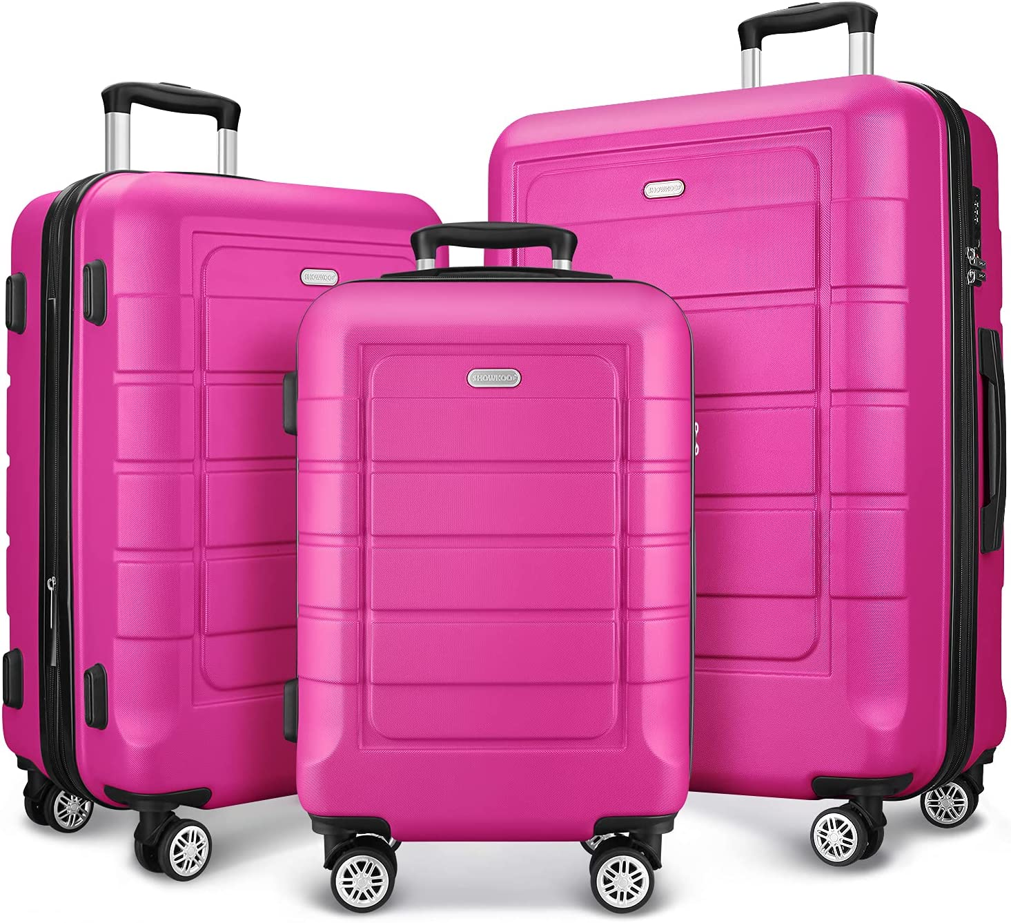 SHOWKOO Super popular specialty store Luggage Sets Expandable PC+ABS Double Suitcase W Deluxe Durable
