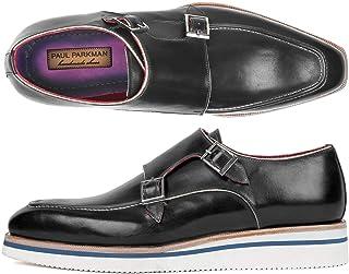Paul Parkman Men's Smart Casual Monkstrap Shoes Black Leather (ID#189-BLK-LTH)